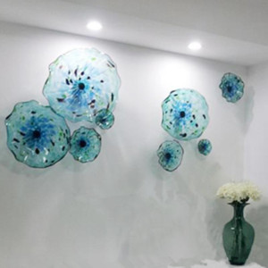 Murano Flower Glass Plates Wall Art Blue Color House Decoration Living Room 100% Hand Blown Glass Hanging Plates Scallop Edges Shape