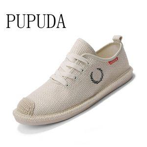 primavera PUPUDA nuevas zapatillas de deporte de los hombres zapatos de moda lienzo de lino de la tendencia hombres zapatos casuales cómodas alpargatas zapatos corrientes clásicos CX200622