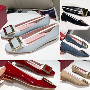 2020 Top New Fashion Womens Flat Dress Shoes With Metal Hi-Q Soft Patent Leather Square Buckle Leather Soles Office Bridal Wedding Shoes