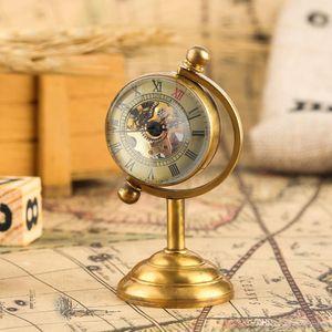 Creative Home Decorative Spinning Globe Gold Desk Clock,Copper Table Clock Hand-winding Movement Pocket Watch for Men Women Friends