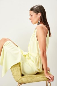 Trendyol Yellow Lacing Detail Dress TWOSS19XM0112