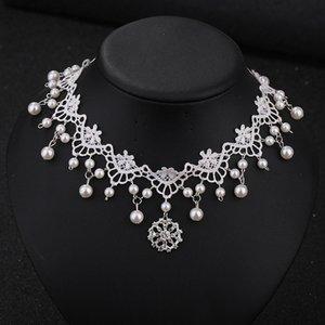 Невеста белый кружевной воротник ожерелье мода свадебные женщины горный хрусталь ожерелье высокое качество ткани колье для Леди