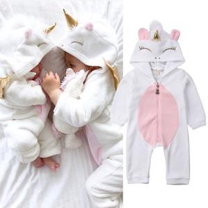 Новорожденный Ребенок Девочка Единорог Фланель Комбинезон Комбинезон Наряд Теплая Одежда Зима