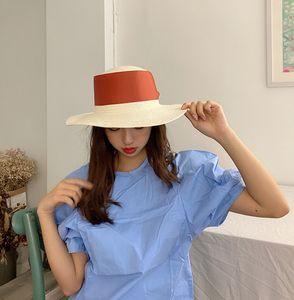 Musterwohnung Straw gefälschte gefälschte Spitze großer Krempe handgemachte Stroh weiblicher Sommersonnenschirm Urlaub Hut britischer Hut Gezeiten