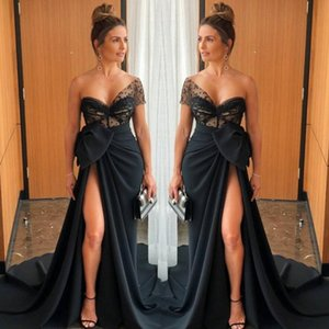 2020 Elegant Sweetheart Black Mermaid Evening Dress Formal Prom Dresses Side Split Long Special Occasion Sexy Party Wear