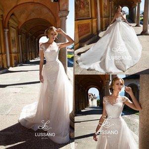 Marfim elegante Tampado Mangas Vestidos de Casamento Do Laço 2019 Mangas Curtas Lace Appliqued Tulle Vestidos De Noiva de Casamento de Noiva de Verão BC1312