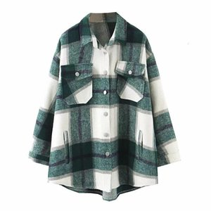 Autumn Winter Plaid Oversize Jackets Loose Causal Checker Single Breasted Streetwear Coat Turn-down Collar Tops
