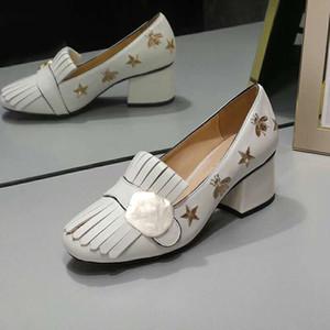Clásico tacón medio zapatos de lujo de cuero de diseñador Ocupación zapatos de tacón alto Cabeza redonda Botón de metal mujer Vestido zapatos tamaño us4-11 42