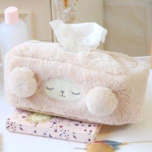 HOT peluche Cartoon Sheep Tissue Box Car Cover Salon Chambre Tissue farcies Box Holder NDS