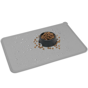 Grey 47*30cm New Silicone Pet Feeding Mat Non Slip Pet Food Water Placemat for Dog Cat Bowls 45x30cm