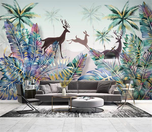 Venta al por mayor Jungle Mural Wallpaper Nordic Tropical Plant Forest Landscape Coconut Tree Elk Beautiful Silk Wall paper