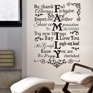 Family Wall Sticker Quote Thankful Love Greateful Home Decor Be Happy Household Decal Bedroom Living Room Decoration Art Mural