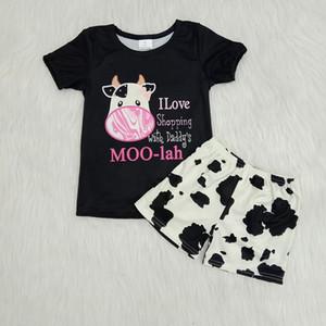 유아 아기 의류 여름 귀여운 무 우유 실크 암소 티셔츠 반바지 2PCS 어린 소녀 의상 부티크 키즈 의류 세트