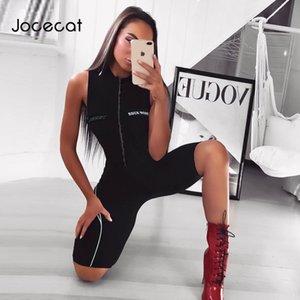 Jocecat Hombro atractivo Playsuit Mujeres Carta Negro Imprimir mamelucos de las mujeres Mono Pantalones cortos de rayas cremallera Body Gym Ropa T200704