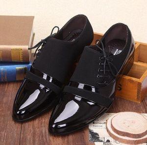 Sıcak Satış-Pupular yeni gögüs dantel-up siyah pu Yapışkan deri erkek Elbise ayakkabı iş Pileli rahat ayakkabılar damat düğün ayakkabı