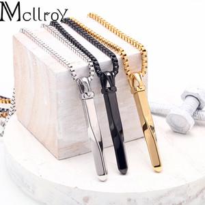 Mcllroy Halskette Männer / Edelstahl / Kette / gold / schwarz Schmuck Valentine lange Anhänger Halskette Weinlesepunkhalsband Mode für Männer