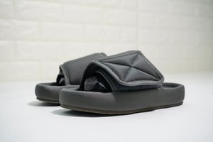 2020 New Top Quality Kanye Season 6 Nylon Slides Men Women 3D Waterproof West Seasn6 Memory Foam High-density Embroidery Green Slippers c17