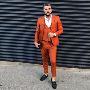 Orange Slim Fit Мужские костюмы Пром One Button Остроконечные отворотом Свадебные костюмы для мужчин Смокинги Три пьесы блейзеры куртка + брюки + Vest