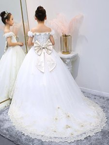 Real Picture White Flower Girls Dresses for Wedding 3D Flowers Kids Children Fashion Clothes Birthday Dress Communion Gown