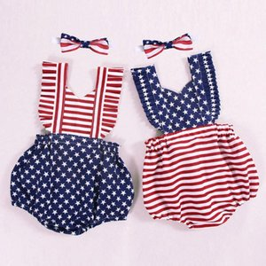 Infant Baby Girls 4th of July Stars Striped Patriotic Backless Romper Bodysuit Sleeveless Independence Day Frill Star Jumpsuit