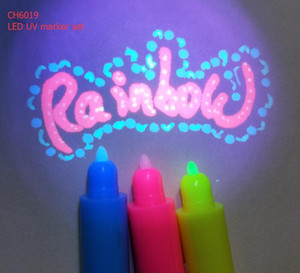 Popular uv art marker - CH-6019,including 3 different uv colored mini invisible ink pen and 1 LED torch