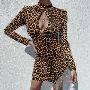 Atractivo diseñador de las mujeres vestidos de leopardo de la manera ahueca hacia fuera el Rhinestone de la borla de la manga larga de Bodycon viste vestidos de las mujeres