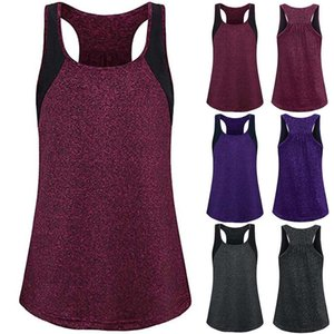 Hot Female Summer Round Neck Color Matching Sleeveless T-shirt Vest for Outdoor Sports Exercise DO2