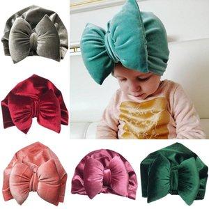 Avrupa Bebek Bebek Big ilmek Pleuche Şapkalar Çocuk Bebek Çocuk kasketleri Turban Şapkalar Çocuk Düğüm Hat 9 Renkler