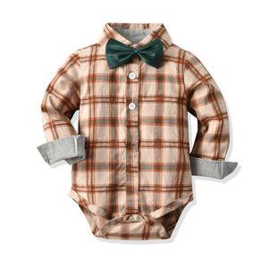 Infant Toddler Baby Boys Gentleman Bowtie Romper Plaid Shirt Party Wedding Casual Formal Bodysuit Jumpsuit Outfit 0-24M