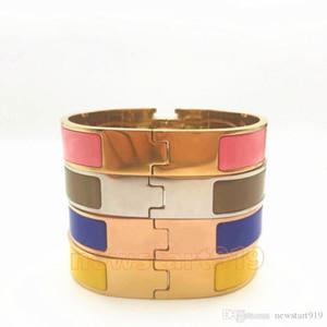 12 mm de anchura 316L mujeres de acero titanio de la moda de oro rosa de plata h Cuff BraceletsBangles pulsera de la pulsera del esmalte de color