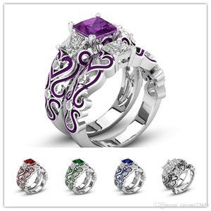 925 2pcs / set 6colors piazza di fidanzamento a cristallo / anelli di matrimoni paio grazioso dei monili di trasporto Dimensione: 5-12