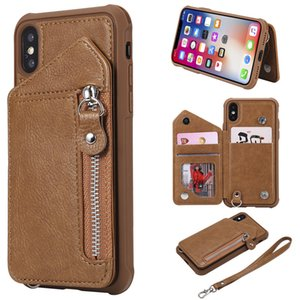 For iPhone X Case Zipper Humanized Card Slot Design Cover Double buckle Stand shockproof For iPhone XS