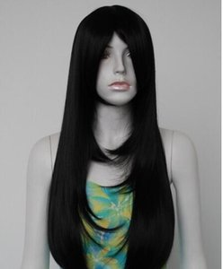 ENVÍO GRATIS + + Sexy Womens Girls Fashion Jet Black Long Style Curly Bang Party peluca para las mujeres pelucas