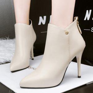 bottines d'hiver Vente-automne chaud pour les femmes sexy talons hauts chaussures femmes cuir PU bout pointu bottes courtes Botas mujer noir rouge