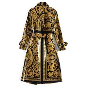 Os mais recentes 2020 Han Zi Qian Runway Moda Outono longo casaco de manga longa Mulheres cinto padrão de impressão do vintage casaco brilhante trincheira de couro