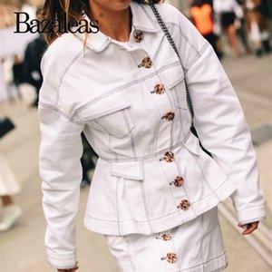 Bazaleas Turn Down Collar casacos quentes Mulheres 2019 listra branca Moda mulheres jacke Pockets Punk Brasão harajuku do navio da gota Casual