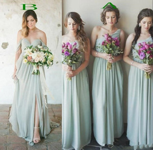 New Country Boho Style Chiffon Bridesmaids Dresses Cheap A Line Pleats Long Wedding Guest Party Evening Prom Gowns Floor Length