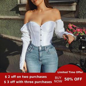 Evenworse off spalla sexy del manicotto della bolla top backless camicia di svago delle donne del partito corsetto stile retrò delle donne notte 2020 Pluz dimensioni