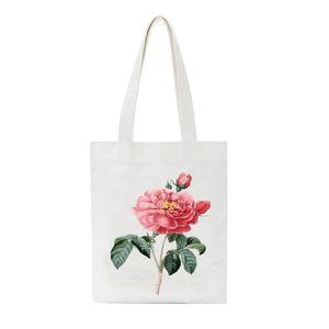 SCCFMM Casual Messenger Bags Tote Flowers Printed Canvas Shoulder Bag Female Harajuku Funny Eco Environmental Shopper Bag
