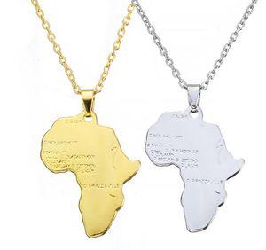 Avrupa ve Amerika Birleşik Devletleri'nde, basit ve popüler altın ve gümüş Afrika haritası kolye hip-hop kolye Takı son moda
