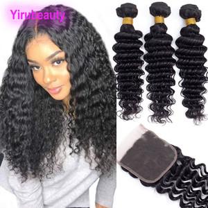 Brazilian Indian Malaysian 3 Bundles With Virgin Wave 4X4 Deep Wave Peruvian Deep Curly Human Hair 8-28inch Lace Closure 4pieces l Rmqbq