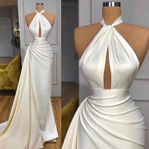 Simple Crepe Sexy Evening Dresses 2020 High Neck Keyhole Side Train Mermaid Arabic Dubai Prom Gowns vestidos formales
