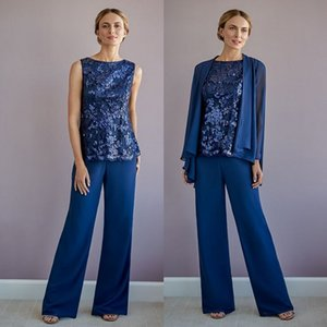 Dark Navy Lace Mother Of The Bride Pant Suits With Long Sleeves Jacket Wedding Guest Dress Chiffon Plus Size Mothers Groom Dresses