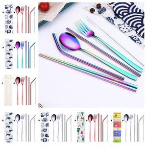 hot 7 Stücke Tragbare Geschirr Stroh Set koreanische Besteck Set Edelstahl Geschirr Set Küche Werkzeuge Mit Tuch Tasche FlatwareT2I5219