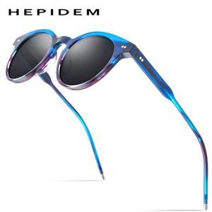 HEPIDEM Acetate Polarized Sunglasses Women 2020 New Brand High Quality Vintage Round Sun Glasses for Men UV400 9127
