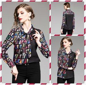 Moda feminina Top Qualidade de impressão Laço Scarf Neck Camisa elegante tamanho Plus magros Blusas Office Lady Sexy Blusas impressionantes Shirts