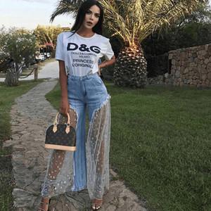 2019 HISIMPLE Malha de Renda Emendado Denim Calças Mulheres Casual Estrela Impressão Sexy Burr Perspectiva Mulheres Longas Jean Elegante Outwear Solto Calças Mulheres