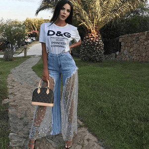2019 HISIMPLE Lace Mesh Spliced Denim Hosen Frauen Casual Star Print Sexy Grat Perspektive Lange Frauen Jean Elegante Outwear Lose Frauen Hosen