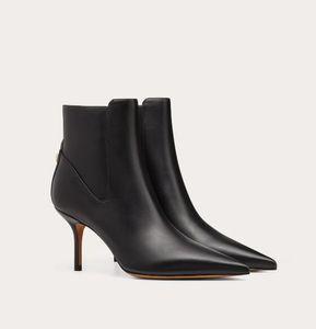 Cheap Luxury Designer Women Bottines Rock Stud Ankle Boots Black Genuine Leather Pointed Toe Women Winter Boot High Heels Elegant Party Wedd