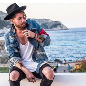 2019 Men 'S Jean Jacket Streetwear Hip Hop Flight Denim Jacket Men Brand Ripped Denim Casual Fashion Jacket Men M-2XL
